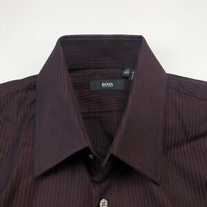 Hugo Boss 17 36/37 Red EUC Mens Button Front Long Sleeve Dress Shirt