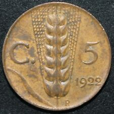 1922   ITALIA 5 CENTESIMI   BRONZO   monete   KM monete