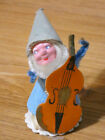 """Vintage Christmas Putz Blue Elf with Composition Face Playing the Cello 3"""" Japan"""