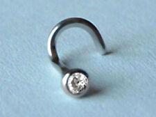 750 ECHT WEIßGOLD *** Zirkonia Nasenstecker Piercing 3 mm (Maxi-Größe)