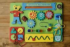 Sensory Toys Wooden Sensory Busy Board for 2 Year Old Toddler Montessori Green