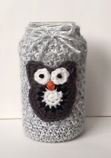 Crocheted 16oz Owl Mason Jar Cover - Cute Gift