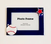 Baseball Themed Photo Frame Blue W/ Star Acrylic Freestanding Holds 4x6 Picture