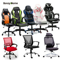 Computer Gaming Chair Swivel Office Recliner Racing Couch w/ Footrest PU Leather