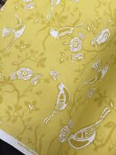 Polyester/linen Birds Trees Print Fabric Mustard Yellow / White Curtains Blinds