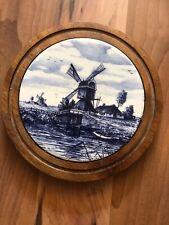 Vintage Delft Ceramic & Wooden Trivet