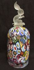 Vintage Italy Murano Millefiori Glass Bell Frosted Satin Rabbit Bunny Handle
