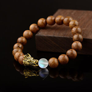 10MM Wood Moonstone Dragon Beads Bracelets Lava Rock Men Women Bracelets Jewelry