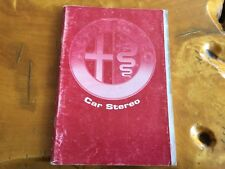 Alfa Romeo car stereo owners manual 1993