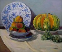 Claude Monet Still Life with Melon Repro, Hand Painted Oil Painting 20x24in