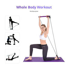 Portable Pilates Bar Kit Resistance Band Exercise Stick Toning Yoga Gym Fitness