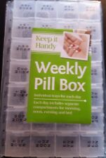PILL BOX WEEKLY 7 DAY INDICATOR PLASTIC CLEAR BRAILLE 28 DAYS ORGANISER MEDICINE