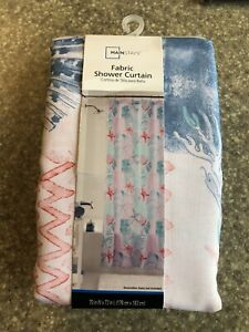 Coastal Fabric Shower Curtain Sea Life Pink Blue Coral Starfish Clams 70 x 72 in