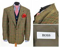 Mens HUGO BOSS Corleone Vintage Blazer Jacket Check Wool Hunting Size EU52 UK42