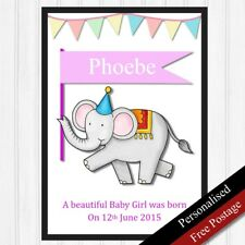 Newborn Baby Personalised Gifts for Girl. Baby Birth Keepsake Gifts PRINT ONLY