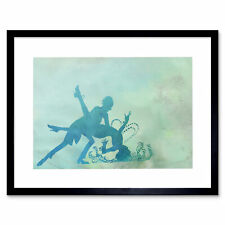 Graphic Silhouette Dancers Green Framed Wall Art Print 12X16 In