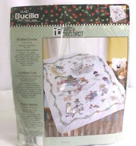 """Mary Engelbreit Mother Goose Lap Quilt Stamped Cross Stitch 45"""" X 45""""New Sealed"""