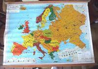 Affiche scolaire Carte Europa Europe très précis et rare 1959