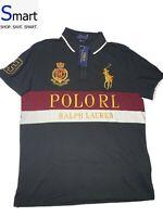 NWT LARGE MEN Polo Ralph Lauren Big Pony Logo Crest Shirt CUSTOM SLIM FIT Black