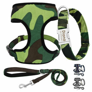 Personalized Dog Collar & Leash & Breathable Soft Mesh Harness Vest Walking S-XL