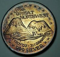 """VINTAGE COLOR SILVER TRADE UNIT """"THE GREAT NORTHWEST"""" ROUND TONED UNC BU (DR)"""