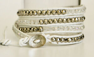Handmade White Leather Wrap Bracelet with Silver and Clear Crystal Beads