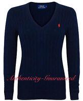 Ralph Lauren Women's Ladies Cable Knit Cotton V/Crew Jumper All Colours RRP £120