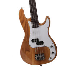 4-String Exquisite Burning Fire Style Electric Bass Guitar Burly Wood Black