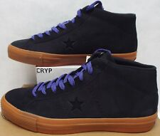 New Mens 10 Converse One Star Pro Leather Mid Black Gum Candy Shoes 153475C $80