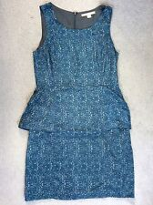 LOVE21 BLUE LIGHTLY PATTERNED DRESS WITH 2 LAYERS ON BOTH SIDES OF HIPS -SIZE M