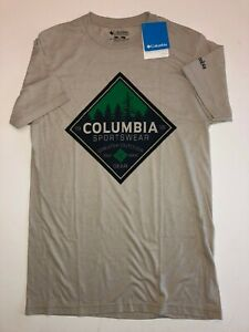 Columbia New Greater Outdoor Logo Short Sleeve T-Shirt Men's Size Small Beige