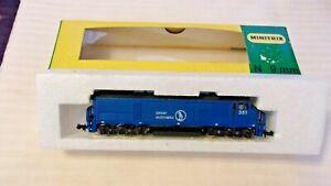 N Scale Minitrix Diesel Locomotive, Great Northern, Blue #351 BNOS