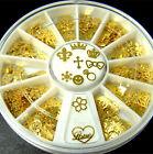 360PCS/Wheel Golden Mixed Design 3D Metal Glitters Slice Nail Art Decoration