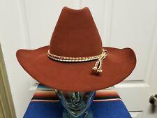 Vintage Resistol Stagecoach Cowboy Hat 6 7/8 Burnt Red Brown Rope Braided Band