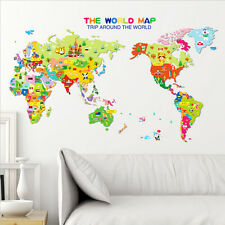 Sticker Kids Nursery Room Home Decor Animal World Map Wall Decal RemovableArt$-$