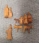 Vintage Wood Nativity Christmas Creche Primitive Style Geometric Handmade