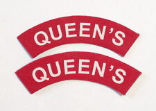 British Army QUEENS Regiment shoulder patches a pair.SCREEN PRINTED 2 patches