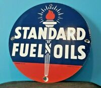 VINTAGE STANDARD GASOLINE PORCELAIN GAS FUEL OILS SERVICE STATION TORCH SIGN