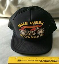 Vintage 1991 Daytona BEACH Bike Week Trucker Snapback Hat Harley CAP GREAT CONDI