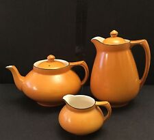 Crown Ducal Ware Orange Glaze Teapot Water Jug and Milk/Cream Jug c1925-1930