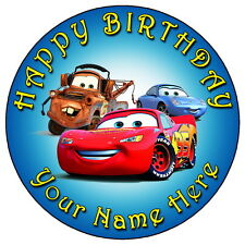 """DISNEY CARS PARTY - 7.5"""" PERSONALISED ROUND EDIBLE ICING CAKE TOPPER"""