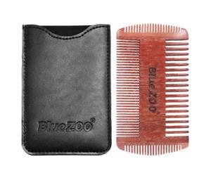 Double Sided Sandalwood Pocket Beard Hair Comb Fine Coarse Teeth Anti Static
