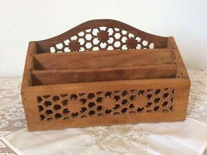 "Vintage 3 Tier Wooden Decorative Hand Carved Letter Rack/Desk Tidy 6.5x10""x3.5"""