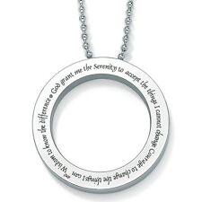 "PalmBeach Jewelry Stainless Steel ""Serenity Prayer"" Beaded Chain Necklace 18"""