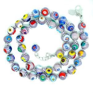 Murano Glass Necklace Lilac Silver Multi Colour 42 Beads Millefiori Venice 46cm