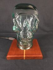Glass Skull Lamp with Wooden Base (ref B521)