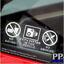 2 x  VEHICLE No Eating,Drinking,CCTV Fitted Stickers-Car,Truck,Sticker,Sign,Taxi