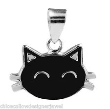 1x 925 Small Sterling Silver + Enamel Cat Pendant for Necklace + Gift Bag