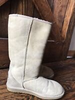 🙃UGG Classic Tall #5815 Sheepskin Tan Suede Leather Boots Women's Size US 7