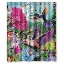 High Quality And New Fashion Hummingbird Watercolor Paint Shower Curtain 60x72